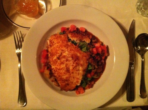 Parmesan-crusted snapper over a local Carolina quail, black-eyed pea, arugala, and rep pepper hash